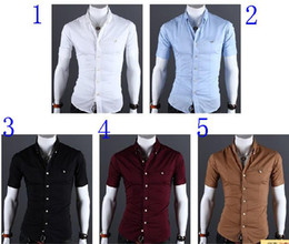 Wholesale New Men s Cultivate One s Morality pure color metal bag buckles short sleeved shirt
