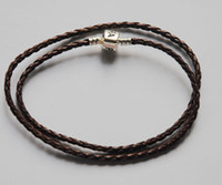 Wholesale 20pcs cm leather braided brown necklace with lock clip stock price withPAN LO GO