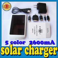 Wholesale 2600mA h Solar Cell Chargers Battery Panel camera PDA USB Charger Mobile Phone MP3 MP4 USB Laptop