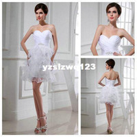 Sexy Sleeveless Sequin Sexy Design 2013 White Real Models Modest Short Wedding Gowns Organza Feather Wedding Dresses