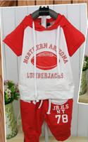 2-6year kids sweat suits - baby suit kids set Hooded fleece breeches American football sweat suit children clothes set