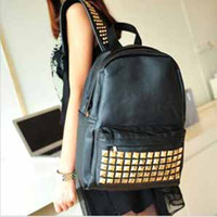 Wholesale hot sale cool punk gold spiky backpack stud bag school bag hobo men women unisex bag hot