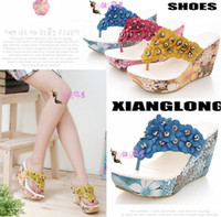 Wholesale 2013 womens sweet wedge Bohemia flip flops sandals flower with beaded flip flops wedge sandals