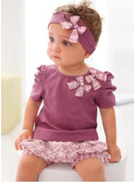 Wholesale Amissa Girl Baby Clothing Sets Headband t Shirt Lace Pants Clothing Butterfly New