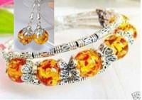 Wholesale Incredibly beautiful handmade Tibet Tibetan silver amber bracelet earrings