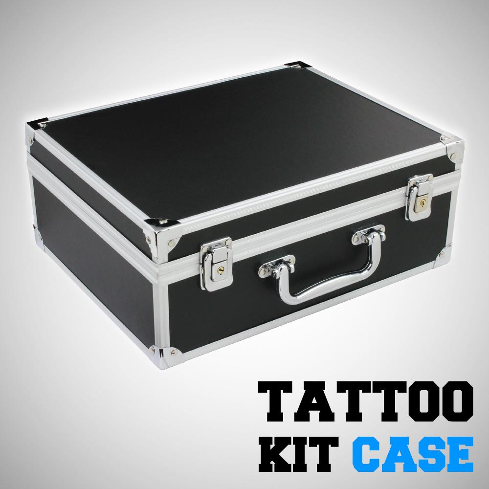 pro amazing black tattoo kit carrying case lightweight aluminum w lock key tattoo machine. Black Bedroom Furniture Sets. Home Design Ideas