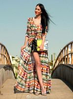 Wholesale 2013 New arrival Fashion Women Elegant Vintage Floral Print Maxi Dresses Slim Bohemian Beach evening