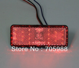 2* Red Rectangle LED Reflectors Brake Light Universal Motorcycle