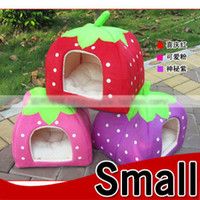 Wholesale Sponge strewberry pet cat dog house bed Removable Cushion Small Size