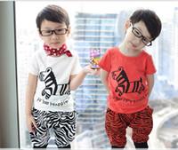 Boy Summer Short Baby Suits Children Clothes Baby Zebra Short Sleeve T-shirts+Harem Pants 2 Piece Suits XT-3002
