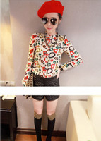 Wholesale Promotion New Summer korean couple shirts fashion tops print Womens Lace Shirts XJ