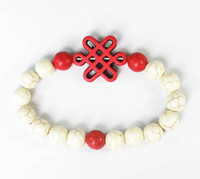 Wholesale Fashion Turquoise Stone Red China Knot Flower White Red Round Beads Stretchy Bracelet ZZ2719 ATV