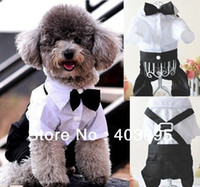 Wholesale Formal Dog Tuxedo Pet Jumpsuit Cute Outfit Bow Tie Suit Wedding Party Apparel
