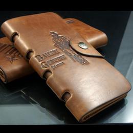 Wholesale Brand new Leather Long Wallet Cowboy Men Pocket Card Clutch Cente Bifold Purse