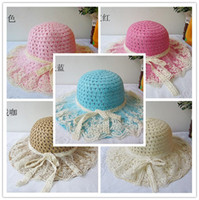 Wholesale new summer sunshade hat girl princess straw lace cap children together beach hat