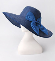 Wholesale 6 colour New Women s Wide Large Net Brim Folding Summer Sun Soft Hat Straw Beach Cap MZXT4