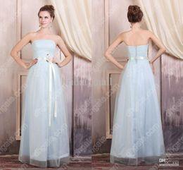 Wholesale Fresh style glamorous strapless corset closure bodice matching a handmade flower belt A line dresses