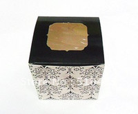 Wholesale black damask cake box party box gift box cupcake box with insert