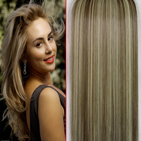 Wholesale Straight Long Clip in Hair extensions g quot Heat Resistant Clip on Hairpieces Synthetic Hair CD88 Brown Blonde Hair