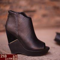 Aermu13 open toe platform shoe platform slope with thick high-heeled