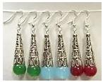 Wholesale 6pcs Pair Green Red Light blue Tibet Silver Asia multicolor jade Earrings