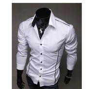 Long Sleeve white dress shirt for men - 2013Men s Long Sleeve Shirts Cotton Lapel Mens Shirt Slim Dress Shirts For Men Business Shirts white