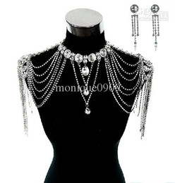 Wholesale 2014 New Luxury Bling Wedding Bridal Dresses Epaulet Jacket Crystal Jewelry Necklace Earrings Sets