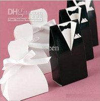 Cheap 200 pcs (100pairs) bride groom wedding bridal favor candy box gift boxes gown tuxedo New holder H138