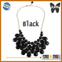 Wholesale New Women Bubble Bib Statement Chain Choker Necklace Pear Bead Plastic Resin