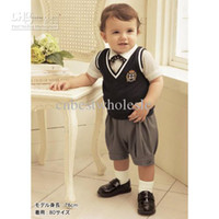 Wholesale Infant Baby Boys pieces sets dark grey vest white Tshirt tee short pant genleman set boy clothes