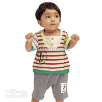 Wholesale Boys Rompers Jumpsuits Toddler Infant Baby One piece stripe Romper grey pant climb clothes
