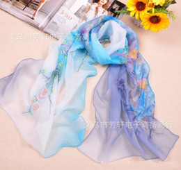 Wholesale New Style Scarves Women New Peony Pattern Scarf Chiffon Scarfs Wrap Rich And Honored Style FX