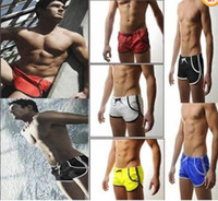 Wholesale Man s Swimming Swim Trunks Shorts Slim Super Sexy Swimwear Pants has Pocket DK