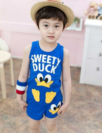 Wholesale 10 set Fashion cartoon vest shorts for boys kid s clothing kid s suit in summer