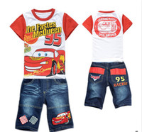 Wholesale 5pcs boys toy story clothing sets for summer children Short sleeve set kids boy s T shirts jean