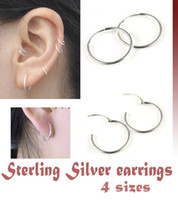 Silver asian tube - Sterling Silver Endless Hoop Earrings for men and women thin mm tube PT