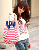 Wholesale Fashion leisure strip Handbag Tote Designer Lady girl s student shoulder beach bag canvas tote