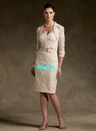 Wholesale In Stock Decent V neck Sheath Column Knee Length Satin Lace Pleated Mother of the Bride Dresses