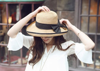 Wholesale 2013 Women s Wide Brim Hat Spring Summer Vintage Style Derby Trilby Sun Straw Hat MZXT15