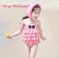 100,110,120,130,140 2T-3T Bikinis Lovely Baby Girl's Summer Swimwear Dresses Children's Kids Beach Clothes Bowknot Pleated skirt