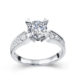 Wholesale 18k white gold diamond wedding rings for women Certified GIC ct Round Cut SI H J GOOD XTR1049