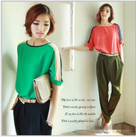 Half sleeve   Red Green women fashion loose blouse Chiffon round neck half sleeve blouse hot Size S M L XL XXL