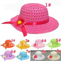 Wholesale Girls Sunbonnet Baby Flower Summer Straw Hat Kids Sun Cap Wide Brim Floppy Hat MZXT17