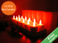 Wholesale Rechargeable Flameless LED Candle Light RED Candles V V option adaptor options Free shippin