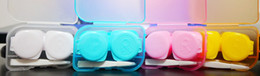Wholesale translucent color Cute Lovely Travel Portable Contact Lens Lenses Container Case Set mate Holder Box