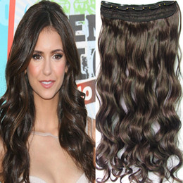 Wholesale 20 quot Women s Long Curl Wavy Synthetic Clip in hair extension JD T Dark Brown