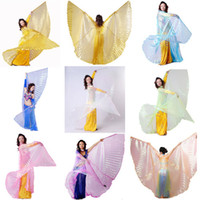 Belly Dancing Ruffled Polyester wings, steel sticks New Handmade Belly Dance Costume Isis Wings Professional 8 Colors + Sticks