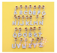 Wholesale Mixed Letters Dangle Rhinestone Beads Fits Charm Bracelet