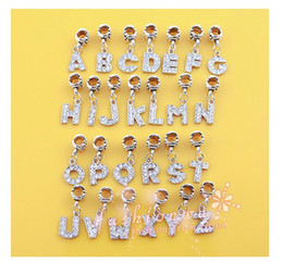 Wholesale Mixed Letters Dangle Rhinestone Beads Fits Charm Bracelet