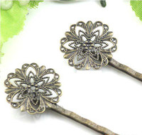 Wholesale 20PCS Antiqued Bronze Filigree Flower Bobby Pins Hair Clips mm
